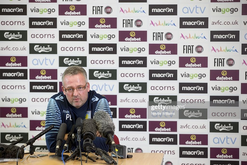 Paul Lambert, manager of Aston Villa speaks to the media during a press conference at the club's training ground at Bodymoor Heath on August 14, 2014 in Birmingham, England. (Photo by Neville Williams/Aston Villa FC via Getty Image