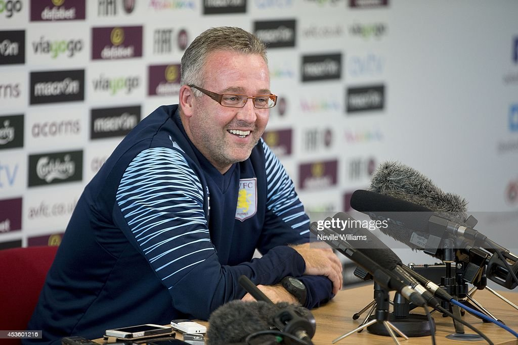 Paul Lambert, manager of Aston Villa speaks to the media during a press conference at the club's training ground at Bodymoor Heath on August 14, 2014 in Birmingham, England.