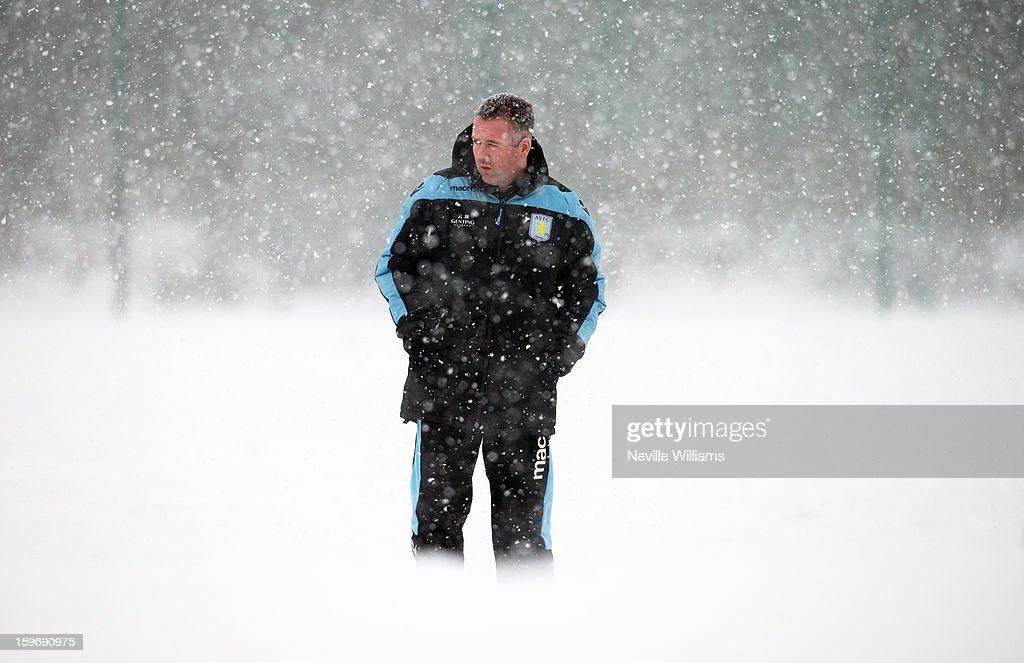 Paul Lambert of Aston Villa in action during a Aston Villa training session at the club's training ground at Bodymoor Heath on January 18, 2013 in Birmingham, England.