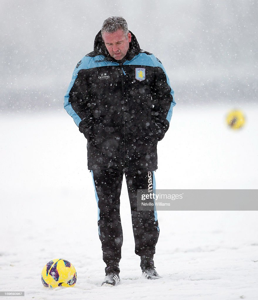 Paul Lambert of Aston Villa in action during a Aston Villa training session at the club's training ground at Bodymoor Heath on January 18, 2013 in Birmingham, England.