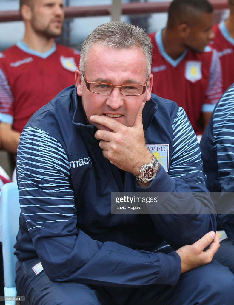 Paul Lambert, the Aston Villa manager looks on during the pre season friendly match between Aston Villa and Parma at Villa Park on August 9, 2014 in Birmingham, England.