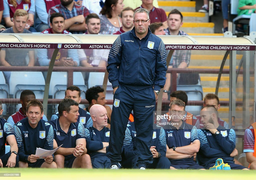 <a gi-track='captionPersonalityLinkClicked' href=/galleries/search?phrase=Paul+Lambert+-+Soccer+Manager&family=editorial&specificpeople=8052775 ng-click='$event.stopPropagation()'>Paul Lambert</a>, the Aston Villa manager looks on during the pre season friendly match between Aston Villa and Parma at Villa Park on August 9, 2014 in Birmingham, England.