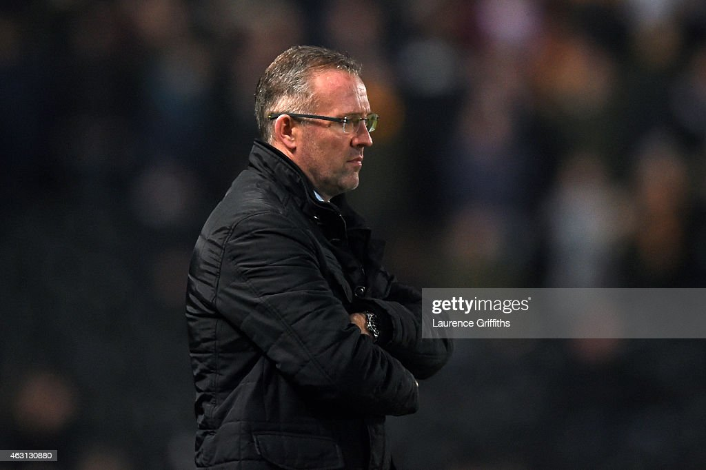 <a gi-track='captionPersonalityLinkClicked' href=/galleries/search?phrase=Paul+Lambert+-+Soccer+Manager&family=editorial&specificpeople=8052775 ng-click='$event.stopPropagation()'>Paul Lambert</a> the manager of Aston Villa looks on during the Barclays Premier League match between Hull City and Aston Villa at the KC Stadium on February 10, 2015 in Hull, England.