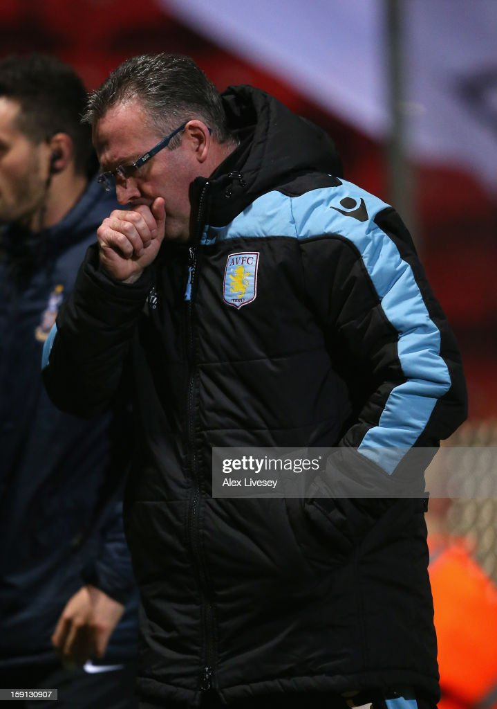 Paul Lambert the manager of Aston Villa walks from the pitch at half time during the Capital One Cup Semi-Final 1st Leg match between Bradford City and Aston Villa at Coral Windows Stadium, Valley Parade on January 8, 2013 in Bradford, England.