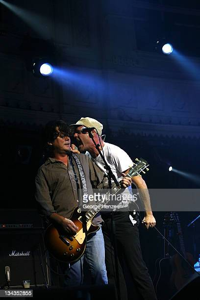 Paul Langlois and Gordon Downie of The Tragically Hip during a performance at The Paradiso September 25 2007 in Amsterdam Netherlands