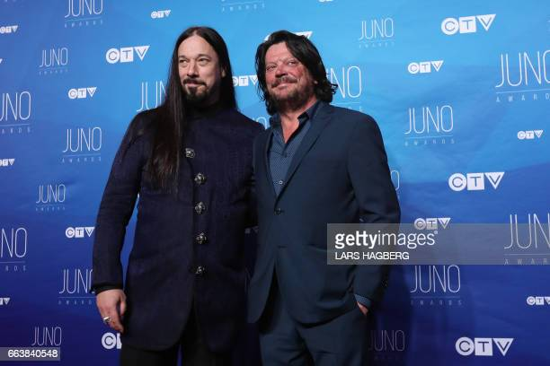 Paul Langlois and Rob Baker of the The Tragically Hip arrive on the red carpet before the JUNO awards at the Canadian Tire Centre in Ottawa Ontario...