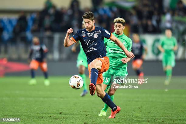 Paul Lasne of Montpellier and Kevin Malcuit of Saint Etienne during the French Ligue 1 match between Montpellier and Saint Etienne at Stade de la...
