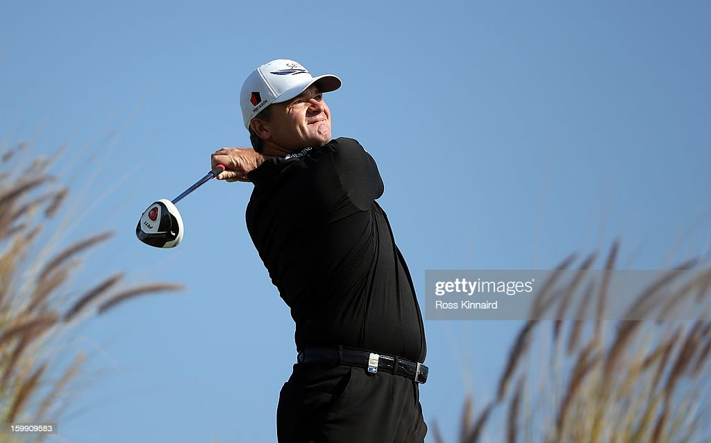 Paul Lawrie of Scotland during the first round of the Commercial Bank Qatar Masters at The Doha Golf Club on January 23, 2013 in Doha, Qatar.