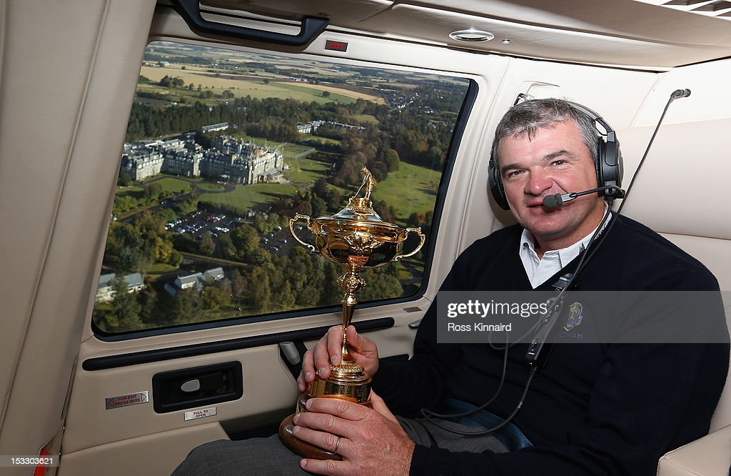 Paul Lawrie of Scotland flys in to the grounds of the Gleneagles Hotel during the offical handover of the Ryder Cup to The Gleneagles Hotel, the hosts of the 2014 event, at Gleneagles on October 3, 2012 in Auchterarder, Scotland.