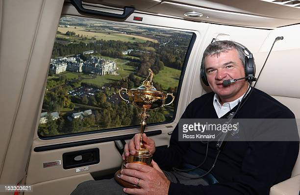 Paul Lawrie of Scotland flys in to the grounds of the Gleneagles Hotel during the offical handover of the Ryder Cup to The Gleneagles Hotel the hosts...