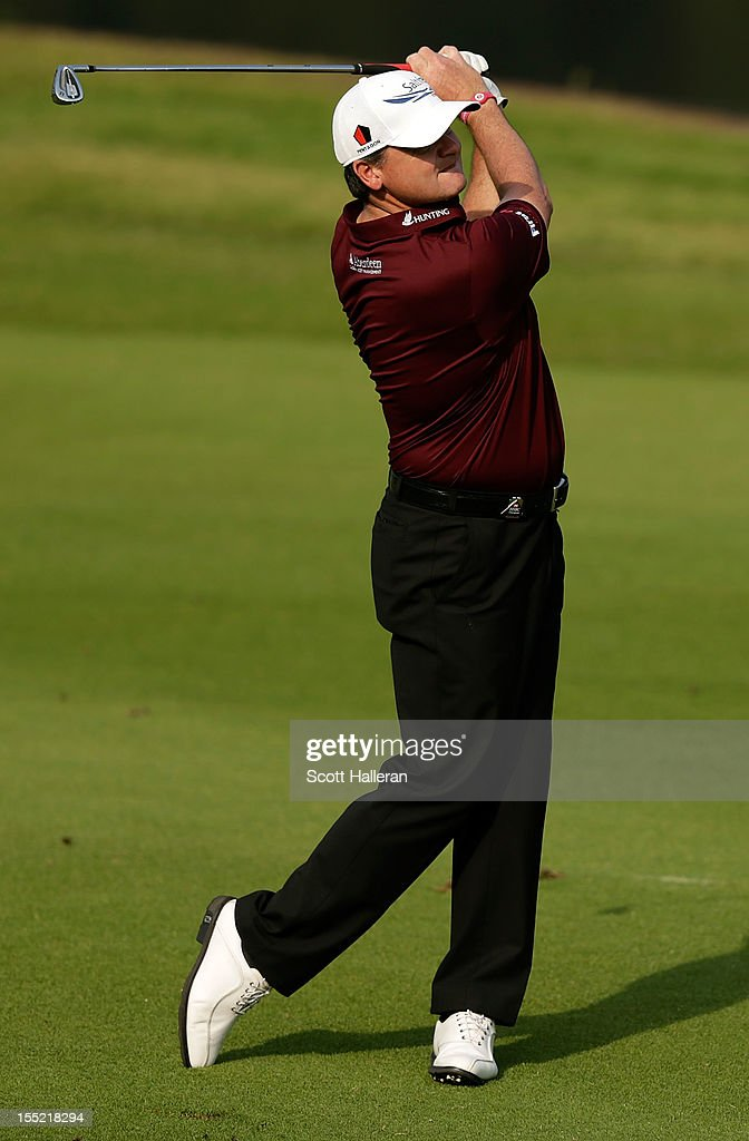 Paul Lawrie of Scotland hits a shot on the 18th hole during the second round of the WGC HSBC Champions at the Mission Hills Resort on November 2, 2012 in Shenzhen, China.