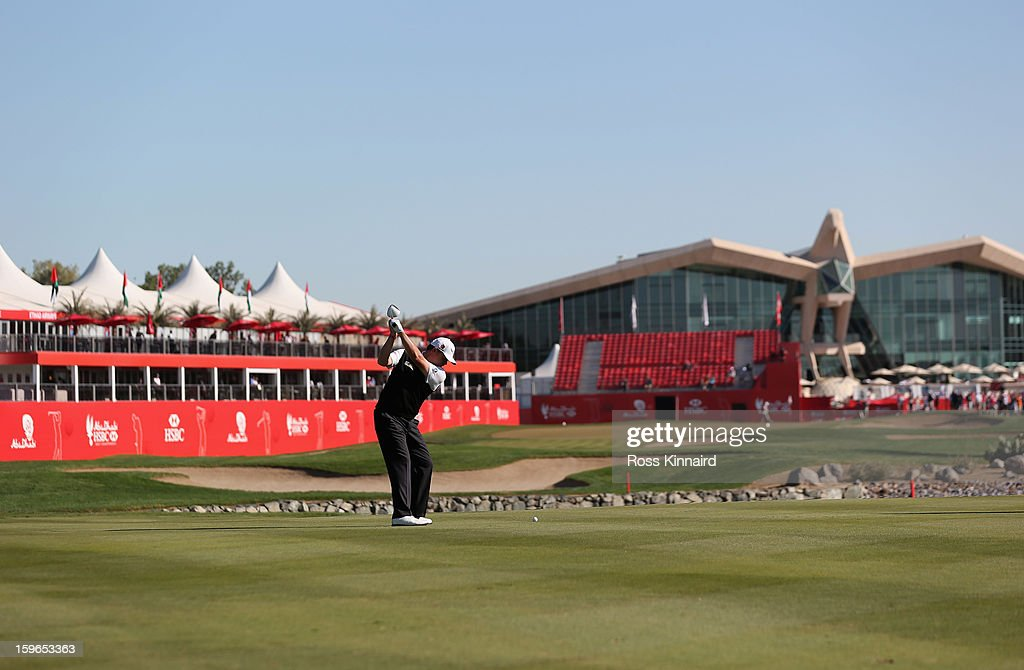 Paul Lawrie of Scotland hits a shot on the 18th hole during the second round of the Abu Dhabi HSBC Golf Championship at the Abu Dhabi Golf Club on January 18, 2013 in Abu Dhabi, United Arab Emirates.