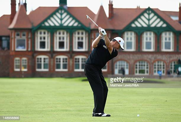 Paul Lawrie of Scotland hits his approach to the 18th green during the second round of the 141st Open Championship at Royal Lytham St Annes Golf Club...