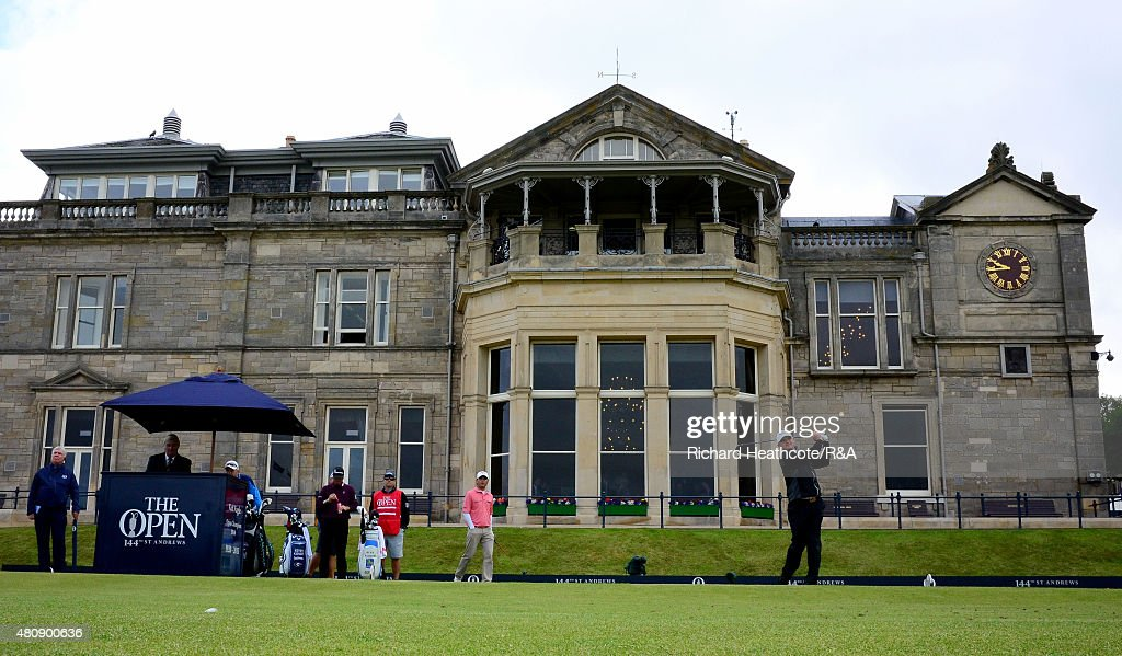 Paul Lawrie of Scotland hits his tee shot on the first hole during the first round of the 144th Open Championship at The Old Course on July 16 2015...