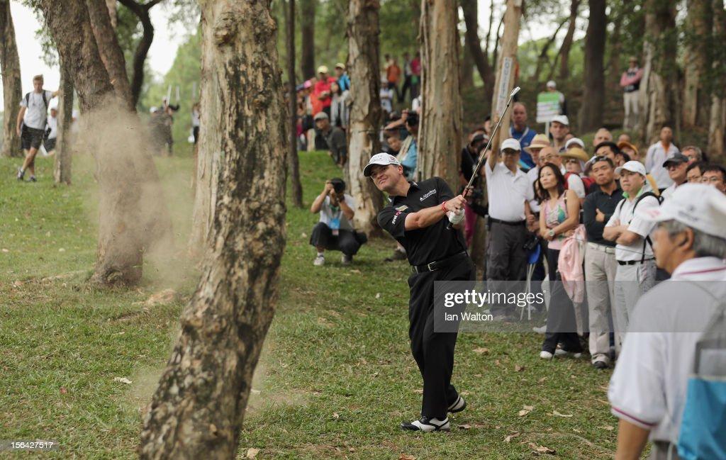 Paul Lawrie of Scotland in action during first round of the UBS Hong Kong Open at The Hong Kong Golf Club on November 15, 2012 in Hong Kong, Hong Kong.