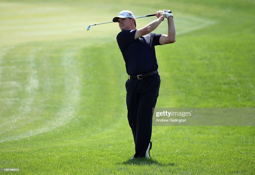 Paul Lawrie of Scotland in action during the final round of The Abu Dhabi HSBC Golf Championship at Abu Dhabi Golf Club on January 20, 2013 in Abu Dhabi, United Arab Emirates.