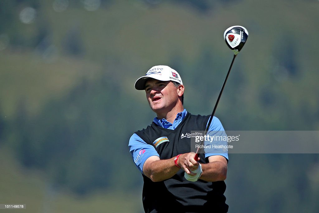 <a gi-track='captionPersonalityLinkClicked' href=/galleries/search?phrase=Paul+Lawrie&family=editorial&specificpeople=202995 ng-click='$event.stopPropagation()'>Paul Lawrie</a> of Scotland in action during the final round of the Omega European Masters at Crans-sur-Sierre Golf Club on September 2, 2012 in Crans, Switzerland.