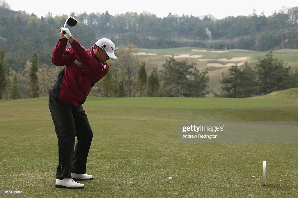 Paul Lawrie of Scotland in action during the first round of the Ballantine's Championship at Blackstone Golf Club on April 25, 2013 in Icheon, South Korea.