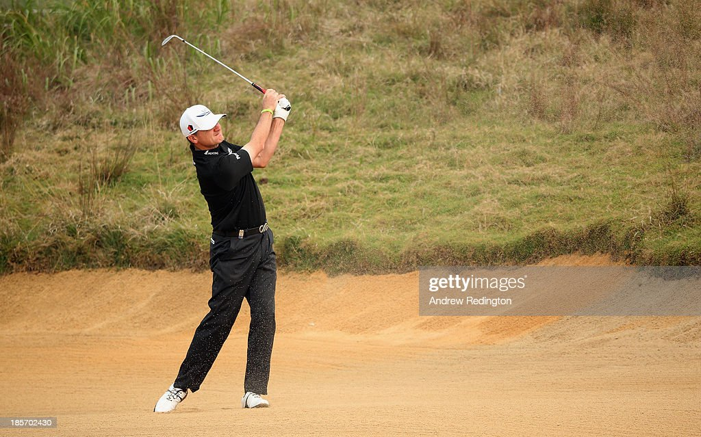 Paul Lawrie of Scotland in action during the first round of the BMW Masters at Lake Malaren Golf Club on October 24, 2013 in Shanghai, China.