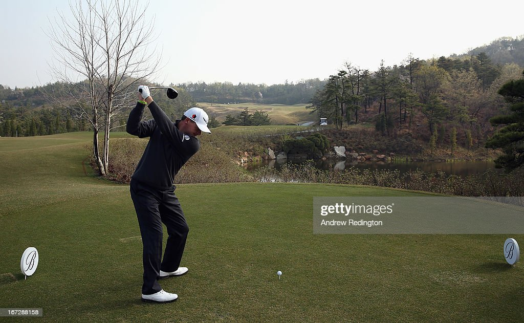 Paul Lawrie of Scotland in action during the Pro Am tournament prior to the start of the Ballantine's Championship at Blackstone Golf Club on April 24, 2013 in Icheon, South Korea.