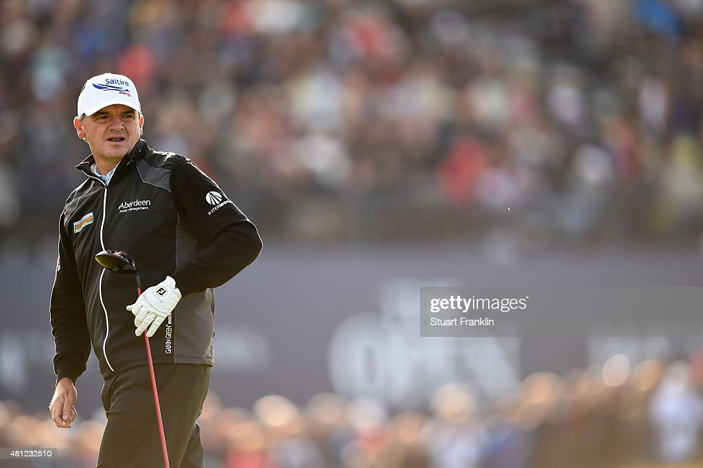 <a gi-track='captionPersonalityLinkClicked' href=/galleries/search?phrase=Paul+Lawrie&family=editorial&specificpeople=202995 ng-click='$event.stopPropagation()'>Paul Lawrie</a> of Scotland look on from the 18th hole during the second round of the 144th Open Championship at The Old Course on July 18, 2015 in St Andrews, Scotland.