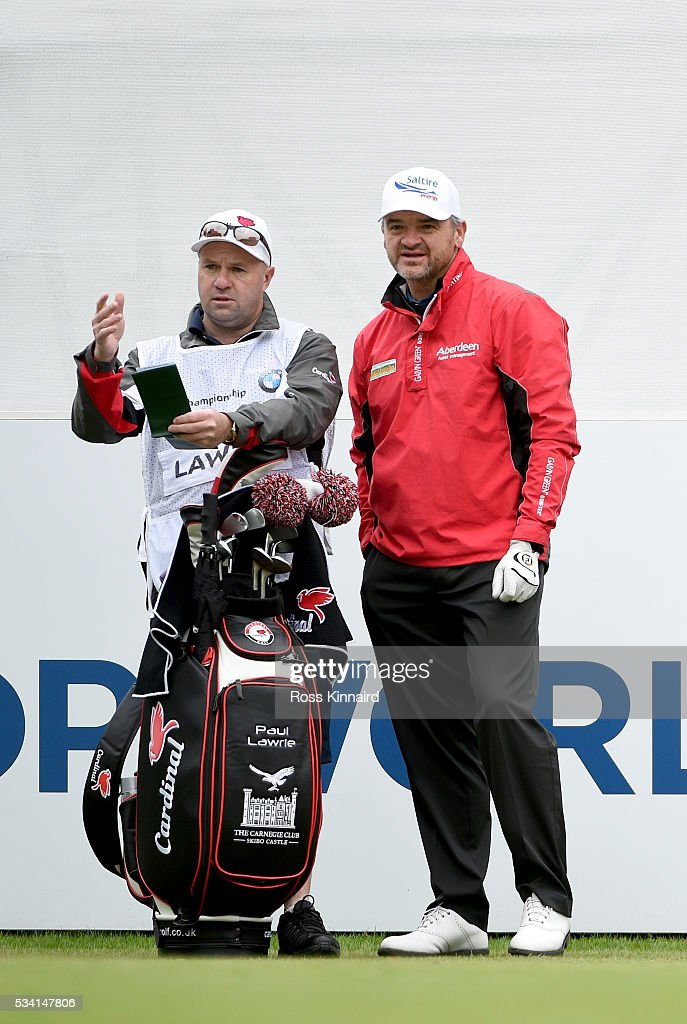 <a gi-track='captionPersonalityLinkClicked' href=/galleries/search?phrase=Paul+Lawrie&family=editorial&specificpeople=202995 ng-click='$event.stopPropagation()'>Paul Lawrie</a> of Scotland looks on with his caddie during the Pro-Am prior to the BMW PGA Championship at Wentworth on May 25, 2016 in Virginia Water, England.