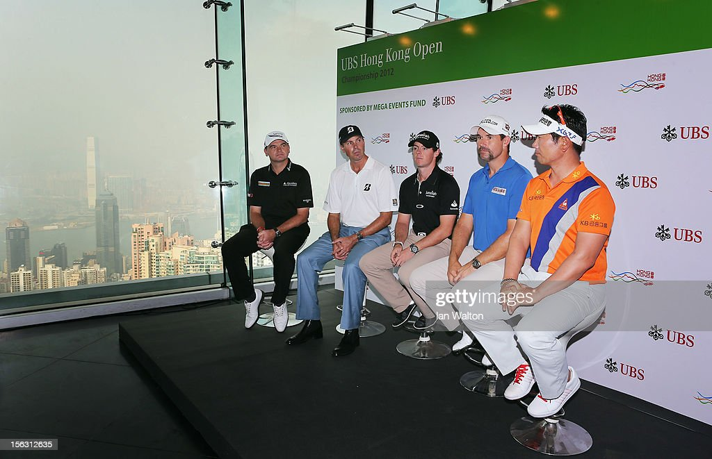 Paul Lawrie of Scotland, Matt Kucher of USA,Rory McIlroy of Northern Ireland, Padraig Harrington of Ireland and Y.E Yang of Korea speak to the press during The 2012 UBS Hong Kong Open 'Meet the Players' Press Conference and Tournament Photo Call at The Peak Tower on November 13, 2012 in Hong Kong, Hong Kong.