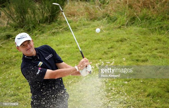 Paul Lawrie of Scotland on the 17th hole during the third round of the Johnnie Walker Championship on the PGA Centenary Course at Gleneagles on...
