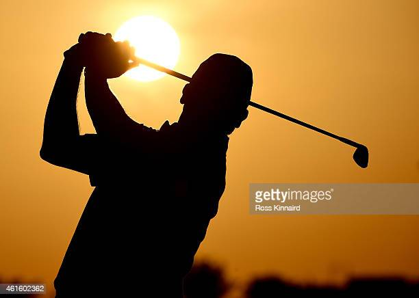 Paul Lawrie of Scotland on the driving range during the second round of the Abu Dhabi HSBC Golf Championship at the Abu Dhabi Golf Club on January 16...