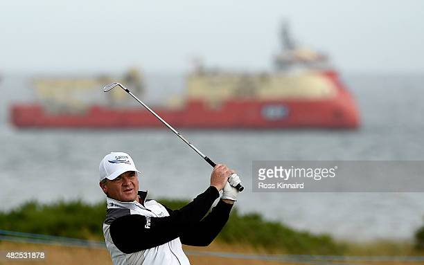 Paul Lawrie of Scotland on the par four 18th hole in his match against Chris Doak of Scotland during round 2 of the Saltire Energy Paul Lawrie...