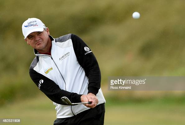 Paul Lawrie of Scotland on the par three 16th hole in his match against Chris Doak of Scotland during round 2 of the Saltire Energy Paul Lawrie...