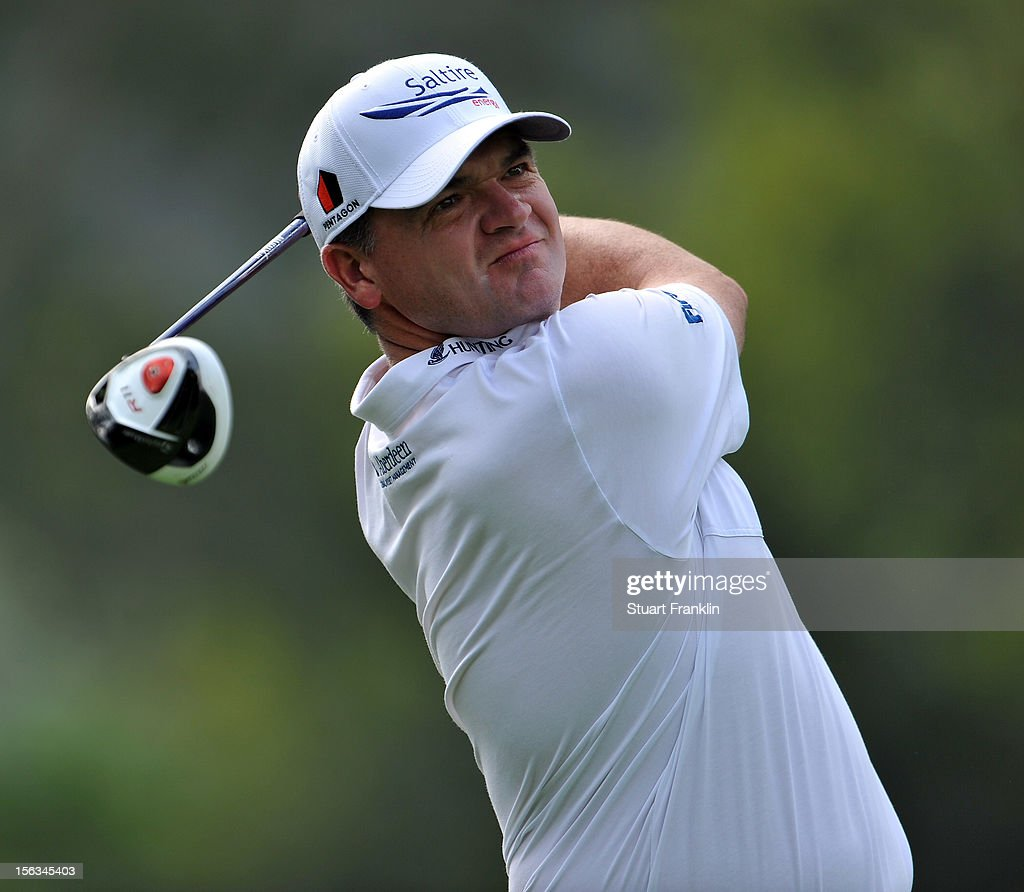 Paul Lawrie of Scotland plays a shot during the pro - am prior to the start of the UBS Hong Kong open at The Hong Kong Golf Club on November 14, 2012 in Hong Kong, Hong Kong.
