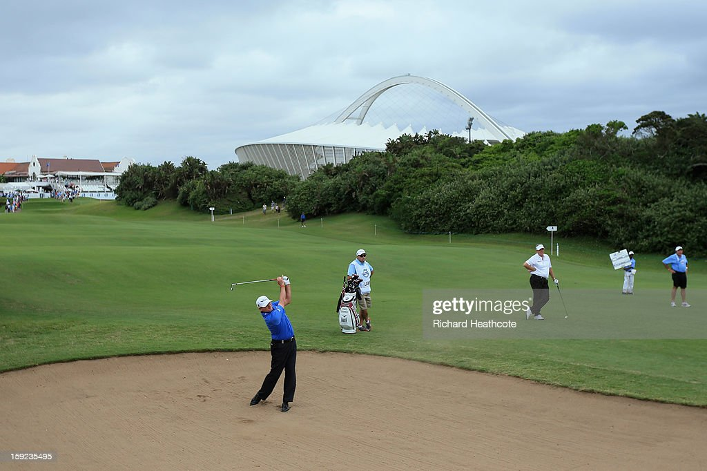Paul Lawrie of Scotland plays from a bunker on the 1st during the first round of the Volvo Champions at Durban Country Club on January 10, 2013 in Durban, South Africa.