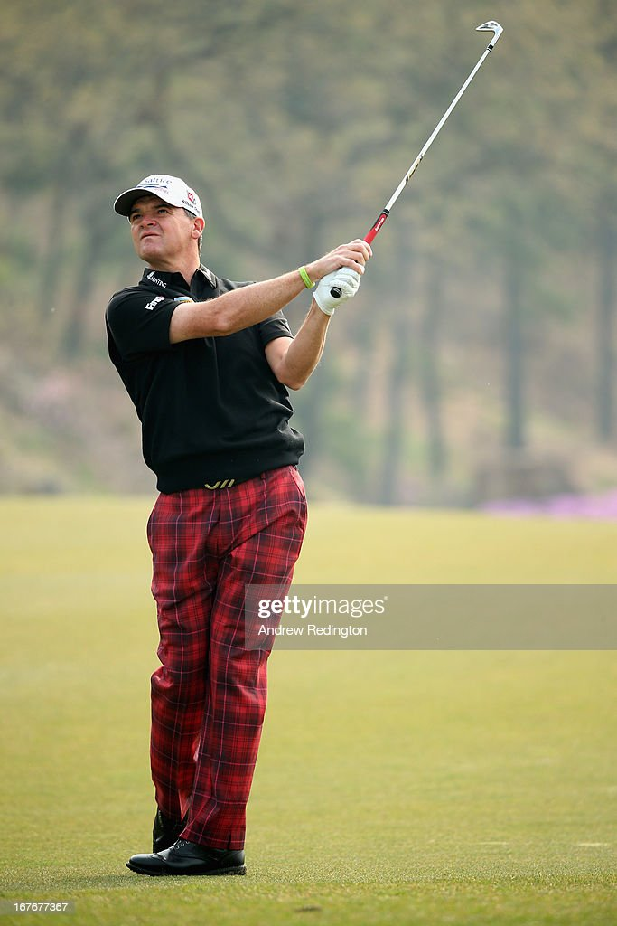 Paul Lawrie of Scotland plays his second shot on the tenth hole during the final round of the Ballantine's Championship at Blackstone Golf Club on April 28, 2013 in Icheon, South Korea.