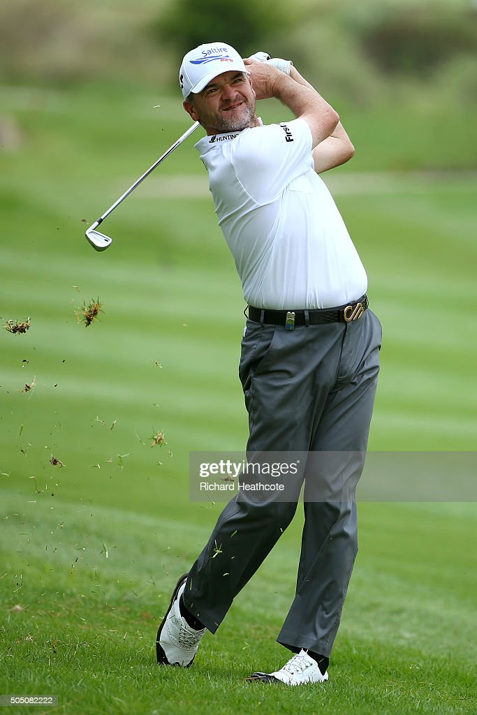 Paul Lawrie of Scotland plays into the 15th green of the east course during the second round of the Joburg Open at Royal Johannesburg and Kensington Golf Club on January 15, 2016 in Johannesburg, South Africa.