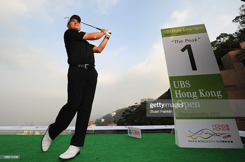Paul Lawrie of Scotland poses for photographers during The 2012 UBS Hong Kong Open 'Meet the Players' Press Conference and Tournament Photo Call at The Peak Tower on November 13, 2012 in Hong Kong, Hong Kong.