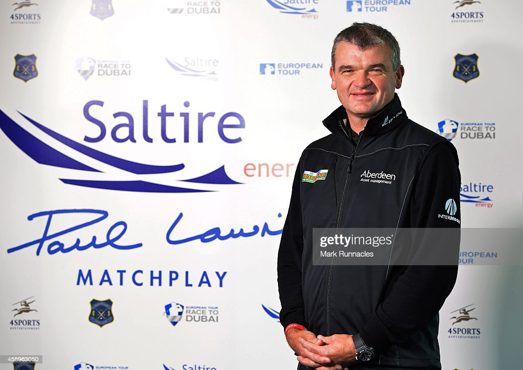 Paul Lawrie of Scotland speaks during the launch of a new Matchplay event named in his honour the new matchplay tournament will be part of The Race...