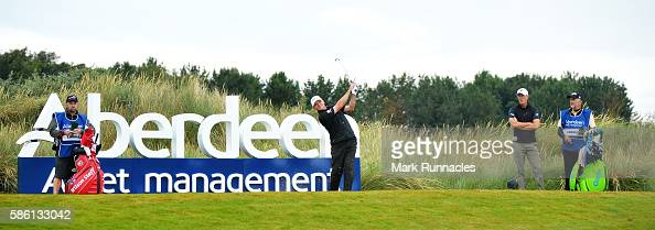 Paul Lawrie of Scotland takes his tee shot on hole 13 on day two of the Aberdeen Asset Management Paul Lawrie Matchplay at Archerfield Links Golf...