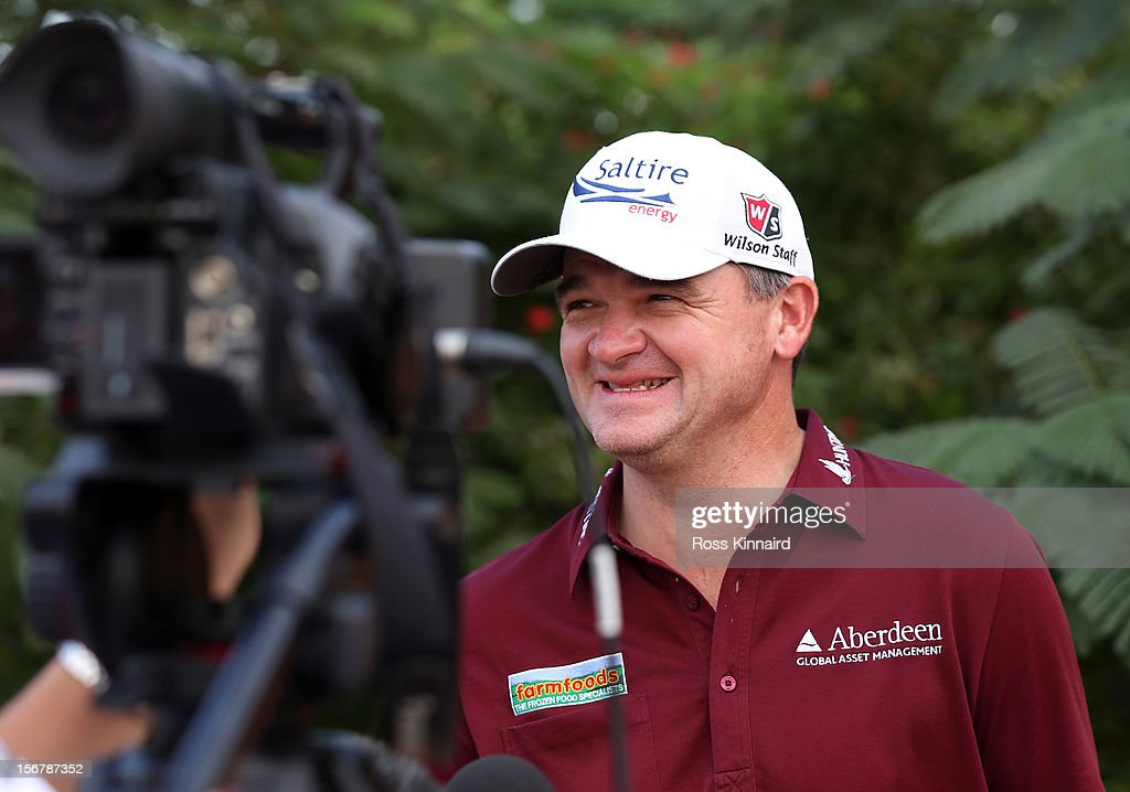Paul Lawrie of Scotland talking to the press during a practice day prior to the DP World Tour Championship on the Earth Course at Jumeirah Golf Estates on November 21, 2012 in Dubai, United Arab Emirates..