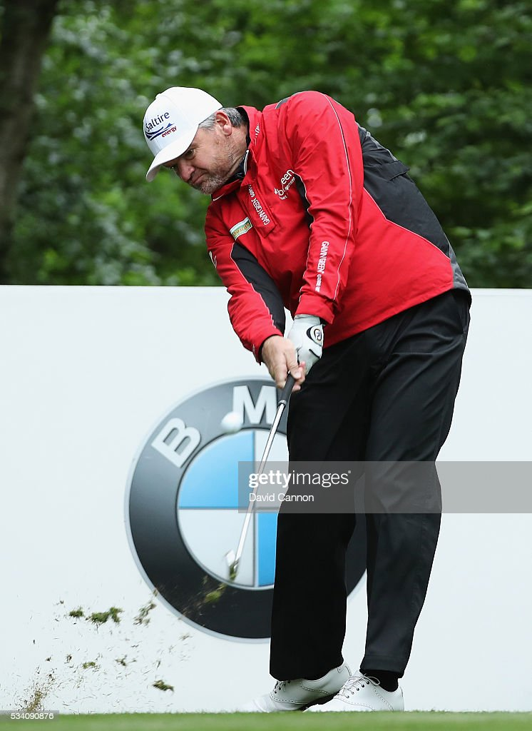 Paul Lawrie of Scotland tees off during the Pro-Am prior to the BMW PGA Championship at Wentworth on May 25, 2016 in Virginia Water, England.