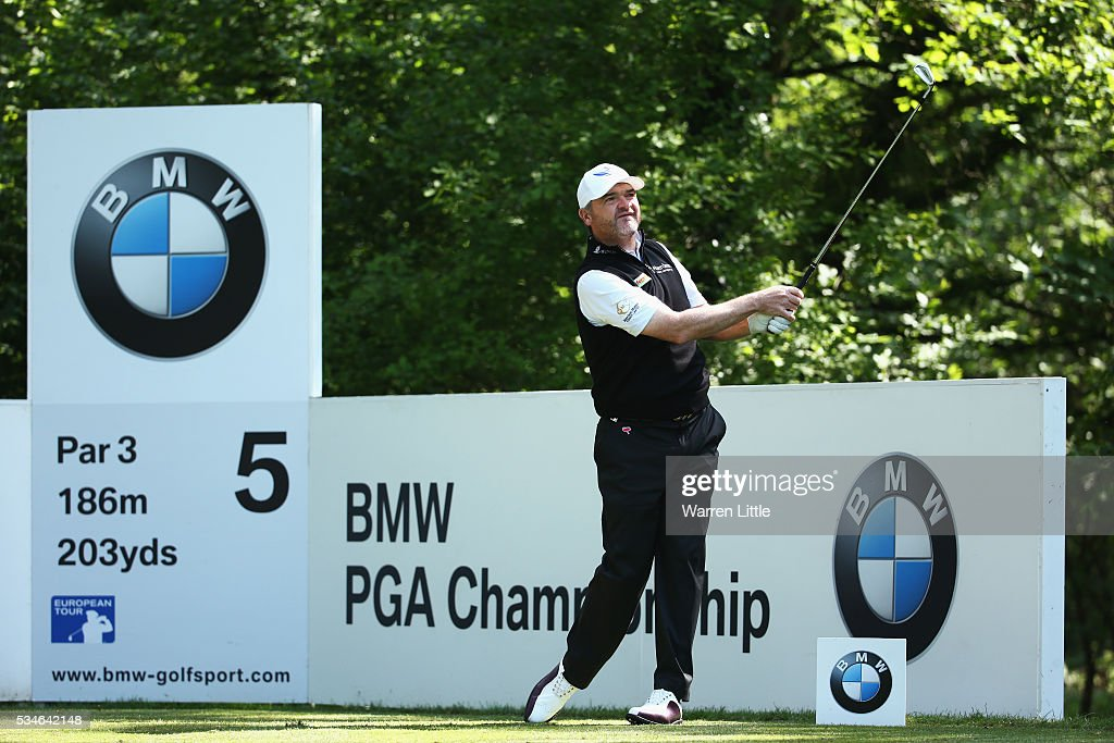 <a gi-track='captionPersonalityLinkClicked' href=/galleries/search?phrase=Paul+Lawrie&family=editorial&specificpeople=202995 ng-click='$event.stopPropagation()'>Paul Lawrie</a> of Scotland tees off on the 5th hole during day two of the BMW PGA Championship at Wentworth on May 27, 2016 in Virginia Water, England.