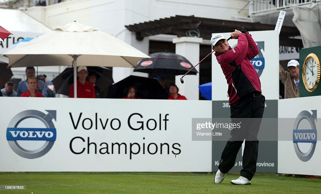 Paul Lawrie of Scotland tees off on the first hole during the second round of the Volvo Golf Champions at Durban Country Club on January 11, 2013 in Durban, South Africa.