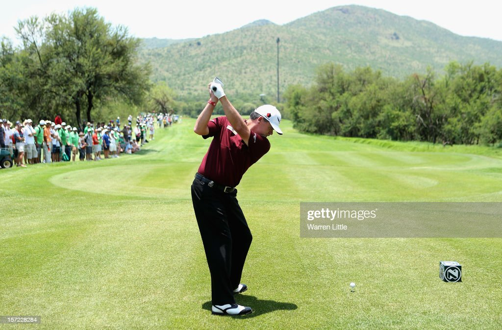 <a gi-track='captionPersonalityLinkClicked' href=/galleries/search?phrase=Paul+Lawrie&family=editorial&specificpeople=202995 ng-click='$event.stopPropagation()'>Paul Lawrie</a> of Scotland tees off on the second hole during the second round of the Nedbank Golf Challenge at the Gary Player Country Club on November 30, 2012 in Sun City, South Africa.