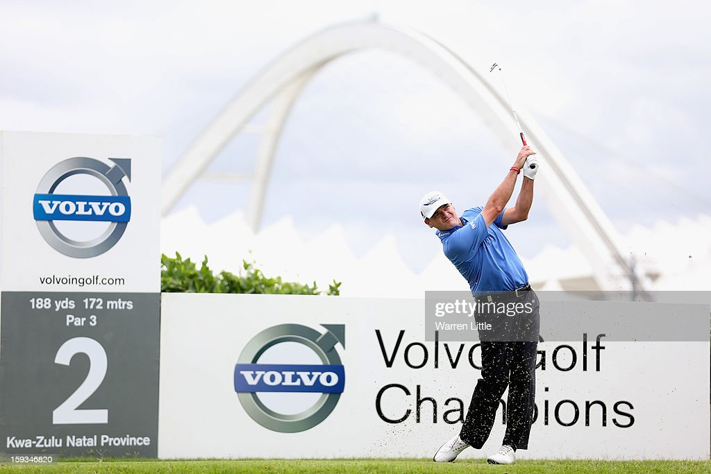Paul Lawrie of Scotland tees off on the second hole during the third round of the Volvo Golf Champions at Durban Country Club on January 12, 2013 in Durban, South Africa.