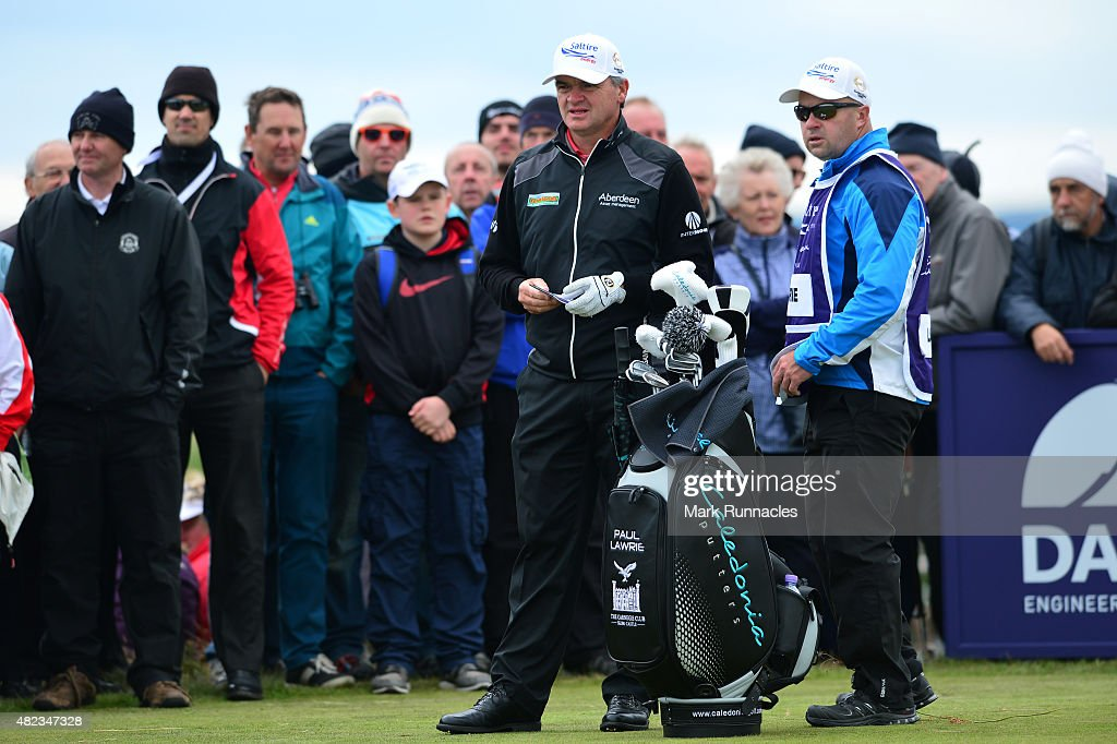 Paul Lawrie of Scotland waiting on the 6th tee during the first day of the Saltire Energy Paul Lawrie Matchplay at Murcar Links Golf Club on July 30...