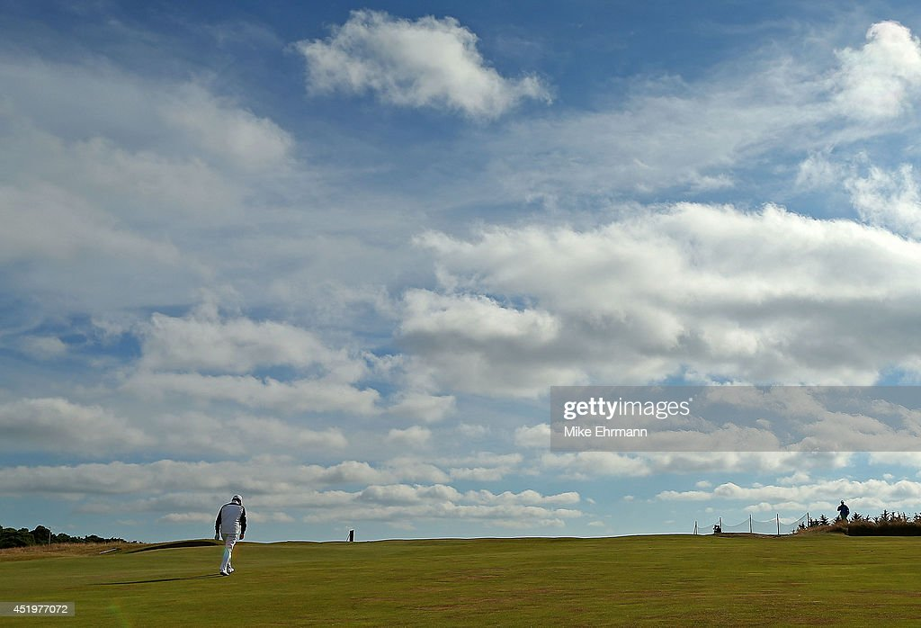 Paul Lawrie of Scotland walks up the 18th hole during the first round of the 2014 Aberdeen Asset Management Scottish Open at Royal Aberdeen Golf Club on July 10, 2014 in Aberdeen, Scotland.