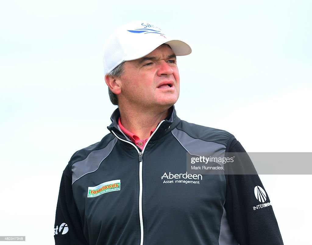 Paul Lawrie of Scotland watches his drive from the first tee during the first day of the Saltire Energy Paul Lawrie Matchplay at Murcar Links Golf Club on July 30, 2015 in Aberdeen, Scotland.