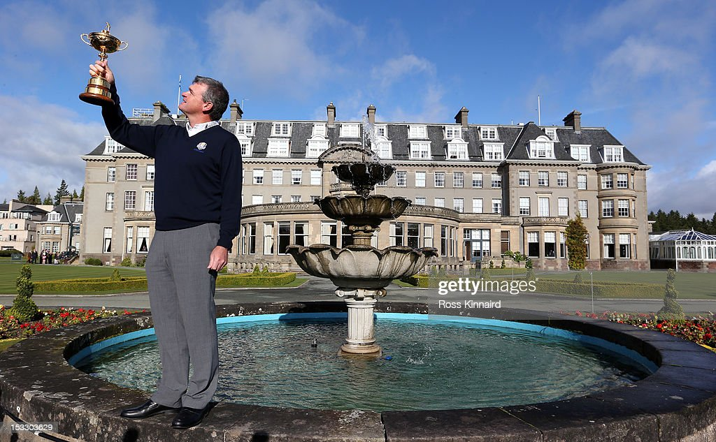<a gi-track='captionPersonalityLinkClicked' href=/galleries/search?phrase=Paul+Lawrie&family=editorial&specificpeople=202995 ng-click='$event.stopPropagation()'>Paul Lawrie</a> of Scotland with the Ryder Cup at the Gleneagles Hotel during the offical handover of the Ryder Cup to The Gleneagles Hotel, the hosts of the 2014 event, at Gleneagles on October 3, 2012 in Auchterarder, Scotland.