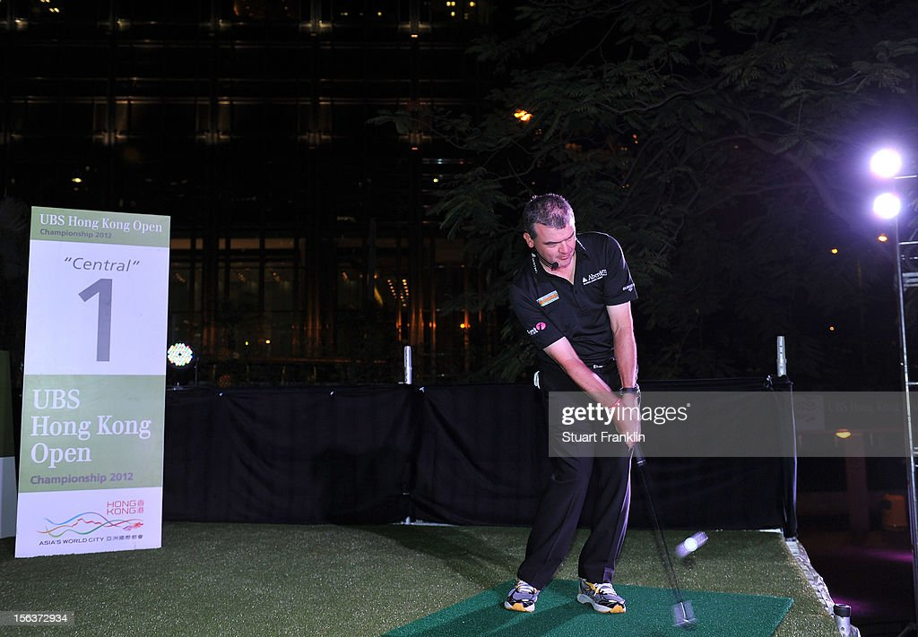Paul Lawrie of USA plays a shot during the urban golf challenge prior to the start of the UBS Hong Kong open at charter gardens on November 14, 2012 in Hong Kong, Hong Kong.