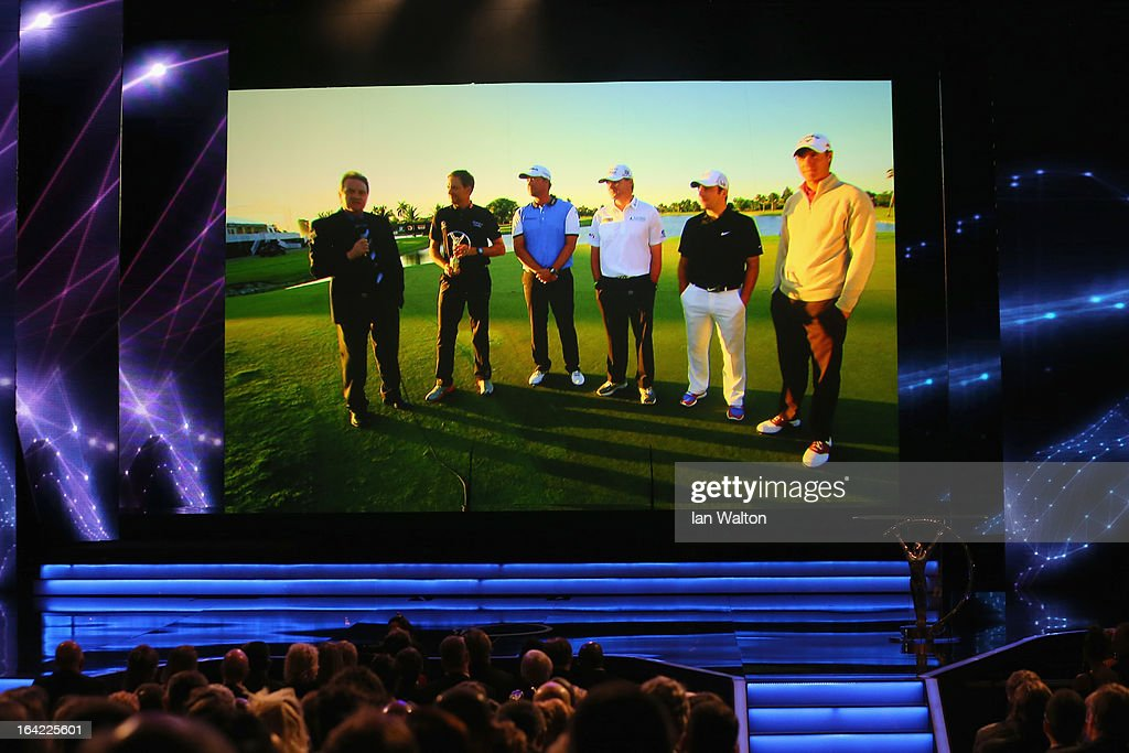 Paul Lawrie, Peter Hanson, Ian Poulter, Francesco Molinari and Nicolas Colsaerts members of the victorious 2012 European Ryder Cup team pose with the award for Laureus World Team of the Year via video link during the awards show for the 2013 Laureus World Sports Awards at the Theatro Municipal Do Rio de Janeiro on March 11, 2013 in Rio de Janeiro, Brazil.